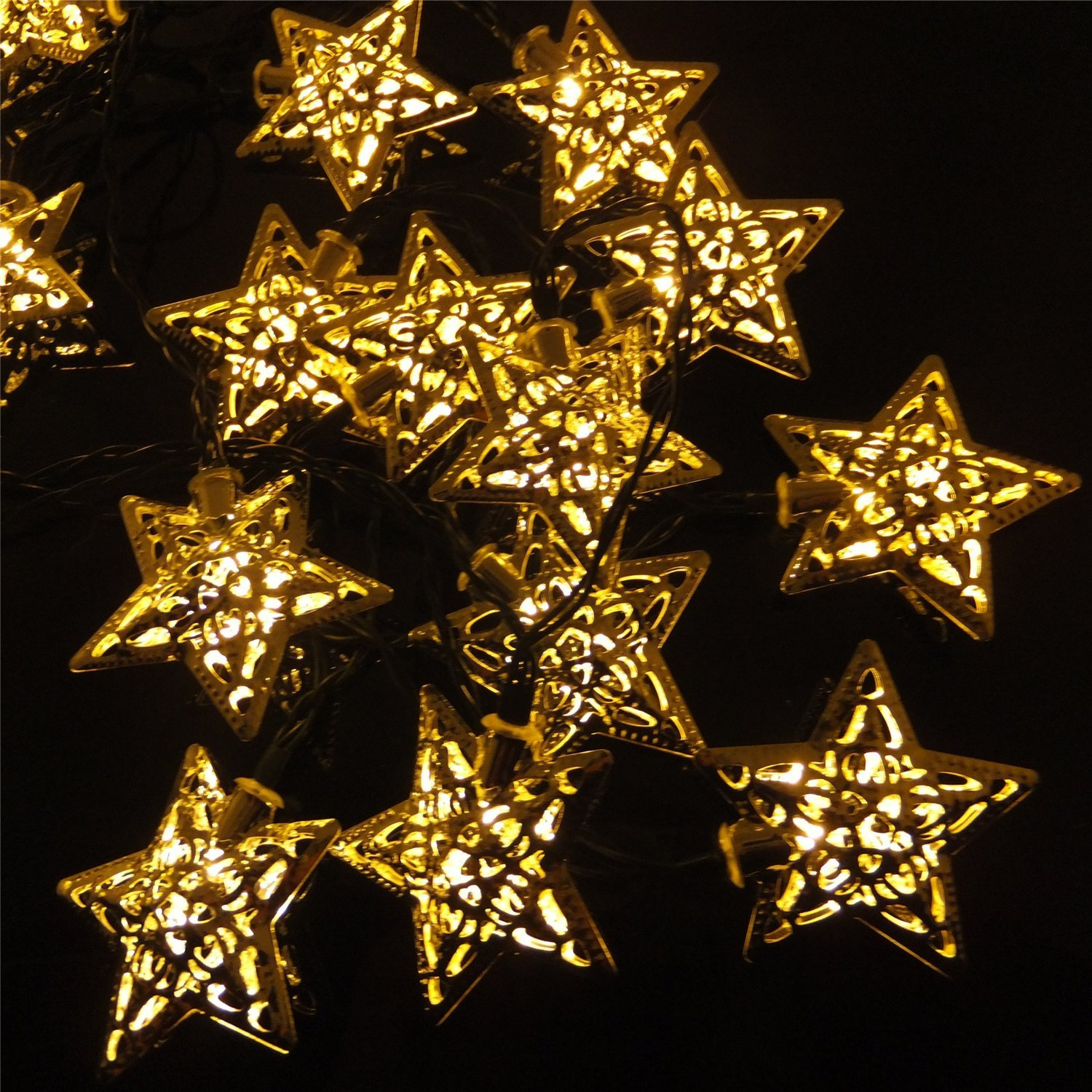 Christmas Star Lights Christmas Party Decor Solar Powered Silver Star Led String