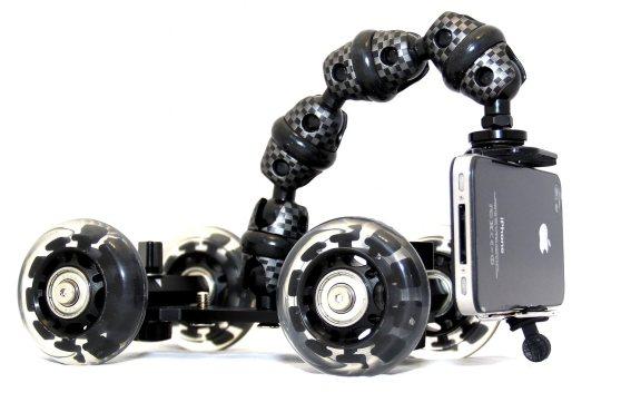Imagen ampliada de iStabilizer Dolly para mostrar todos los detalles de la montura que permite grabar vídeos y movimientos, ideal para los cinéfilos