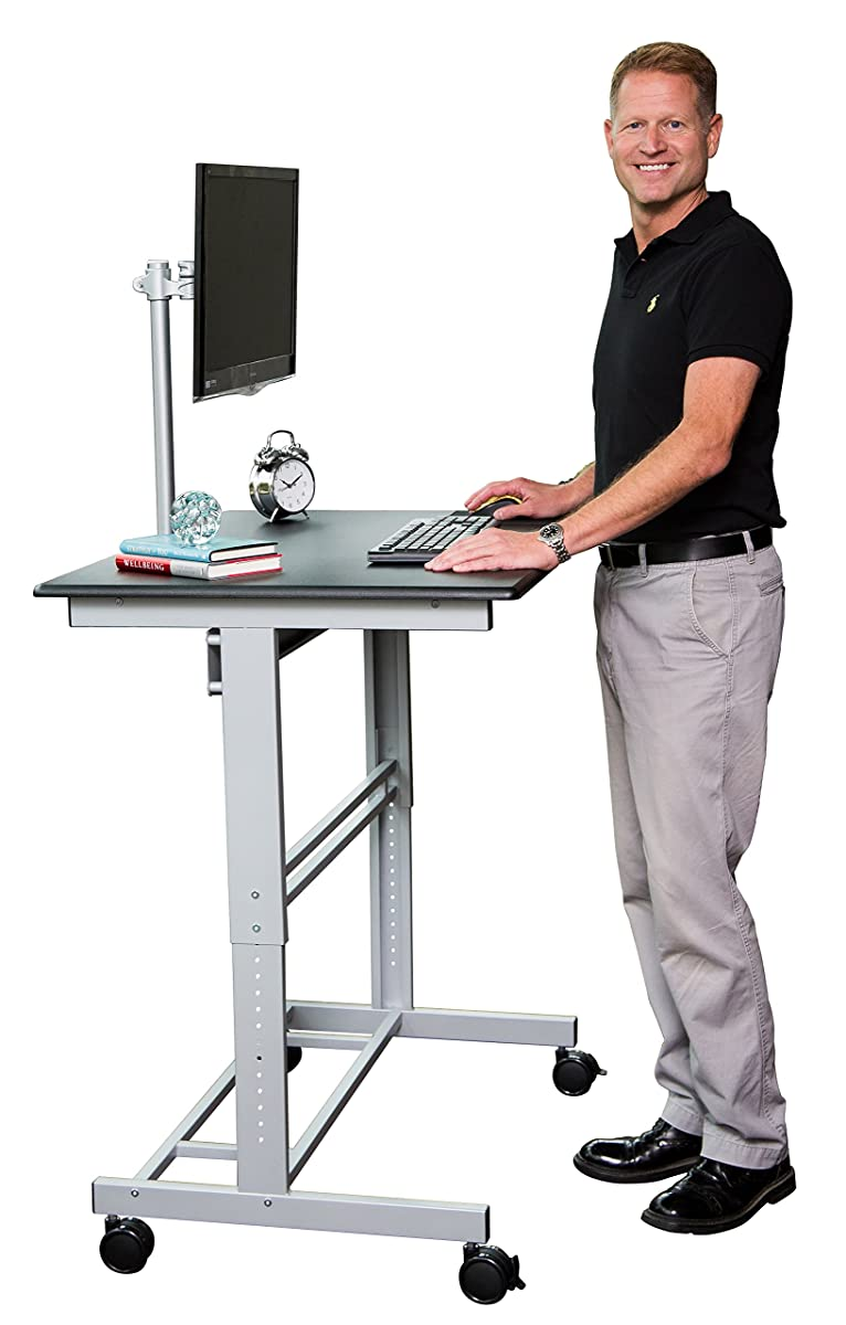 40 Mobile Adjustable Height Stand Up Desk With Monitor