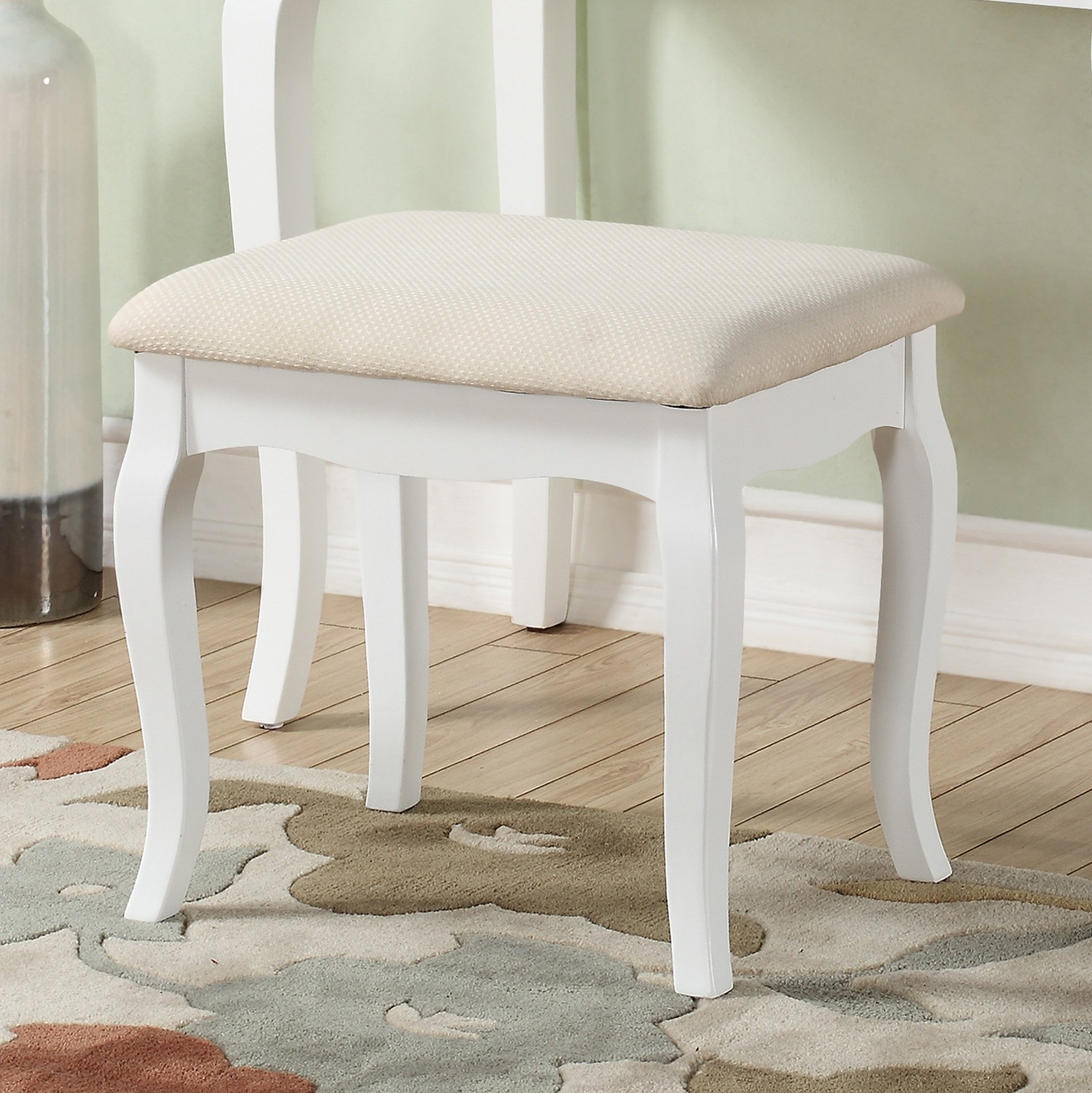 White Vanity Table And Chair Roundhill Furniture Ashley Wood Make Up Vanity Table And