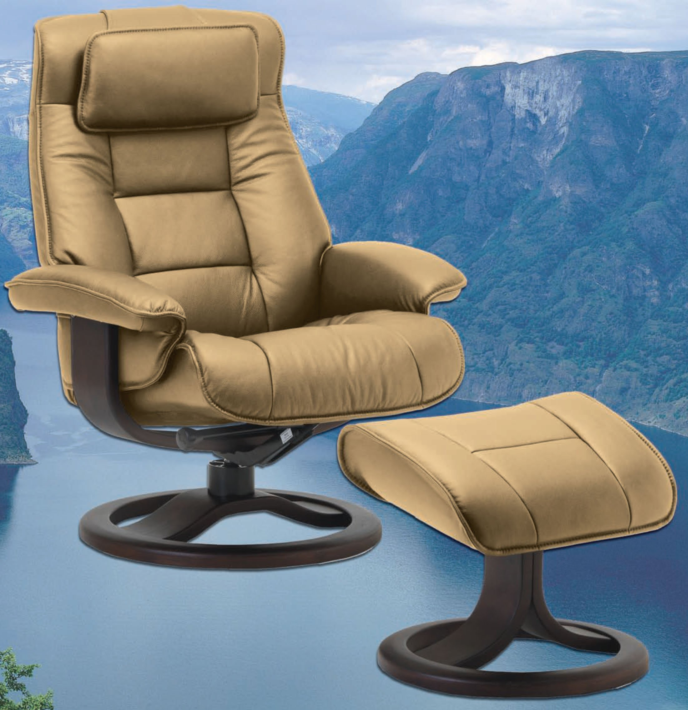 Leather Recliner Chair With Ottoman Fjords Mustang Large Leather Recliner And Ottoman Norwegian Ergonomic Scandinavian Reclining Chair In Nordic Line Genuine Sandel Light Brown Leather
