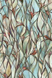 Stained Glass Panels Non Adhesive Frosted Privacy Flowers ...