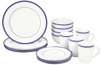 16-Piece Blue Stripe Porcelain Kitchen Dinnerware Set ...