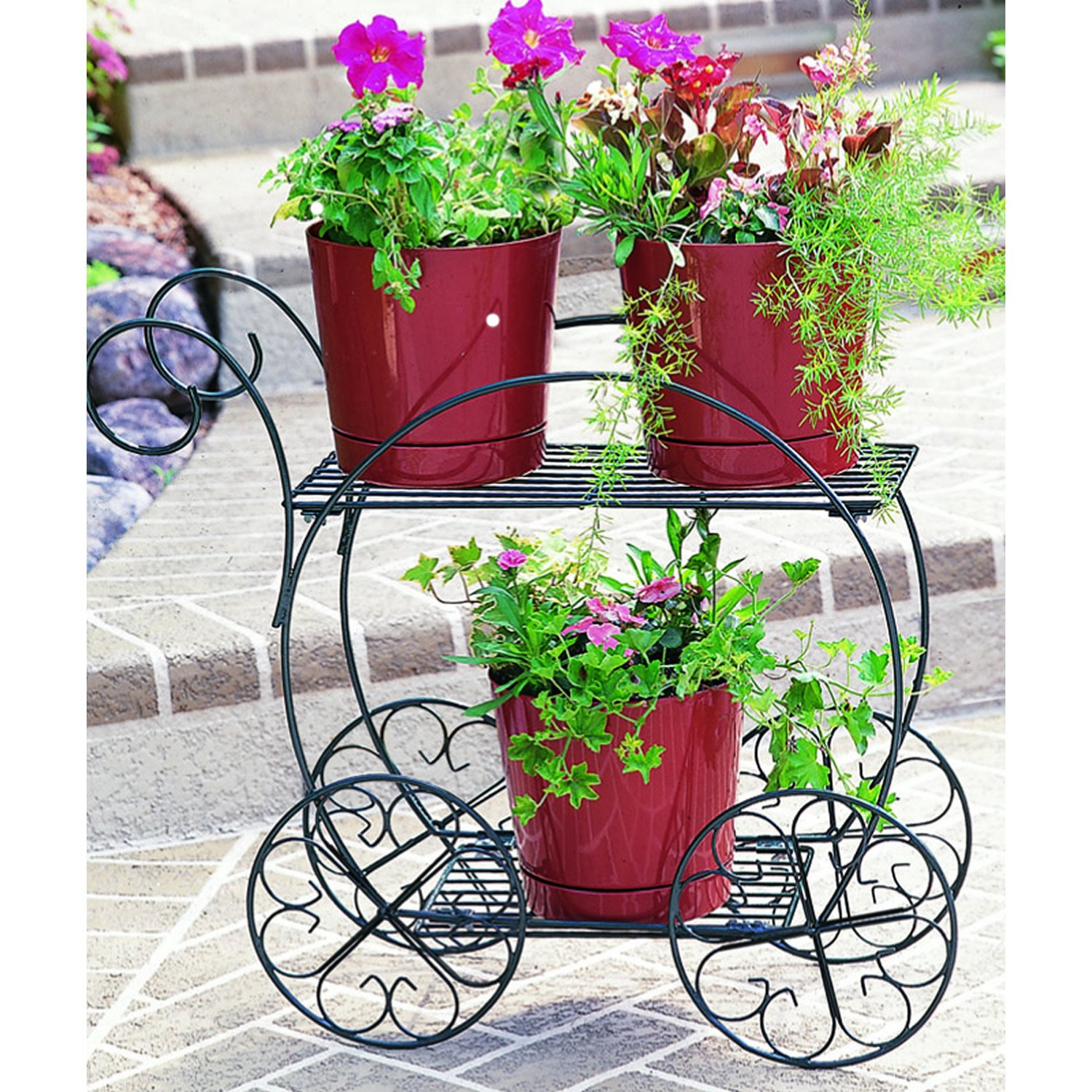 Green Metal Plant Stand Bicycle Flower Cart Pot Plant Wedding Love Garden Yard