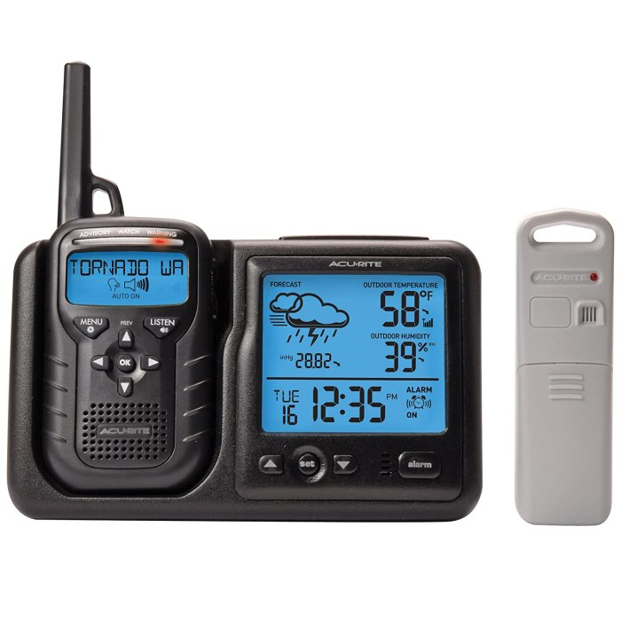 AcuRite Weather Alert Radio Keeping in tune with the weather around you is very important. We use the Acu-Rite 8550 handheld weather radio to alert of us of potential problems.