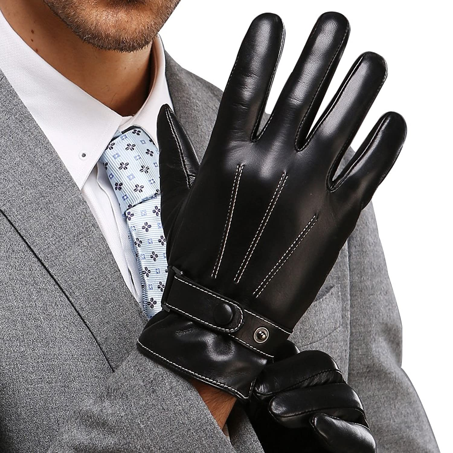 Best winter mens leather gloves made of australia lambskin drive work motorcycle riding cycling fleece lining