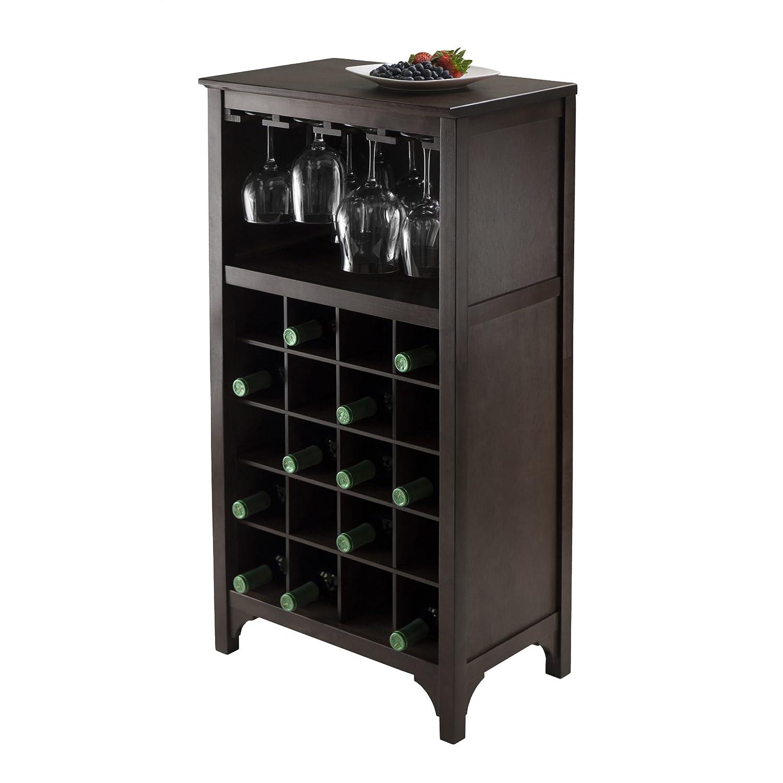 Wine Storage Cabinet Dark Wood Bar 12 Glass , 20 Bottles