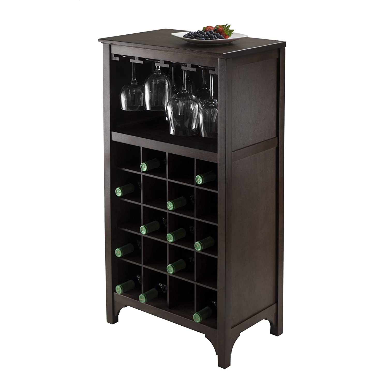 Kitchen Wine Cabinet Wine Storage Cabinet Dark Wood Bar 12 Glass 20 Bottles
