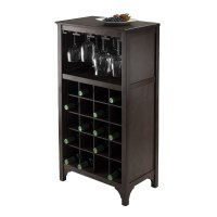 Wine Storage Cabinet Dark Wood Bar 12 Glass , 20 Bottles