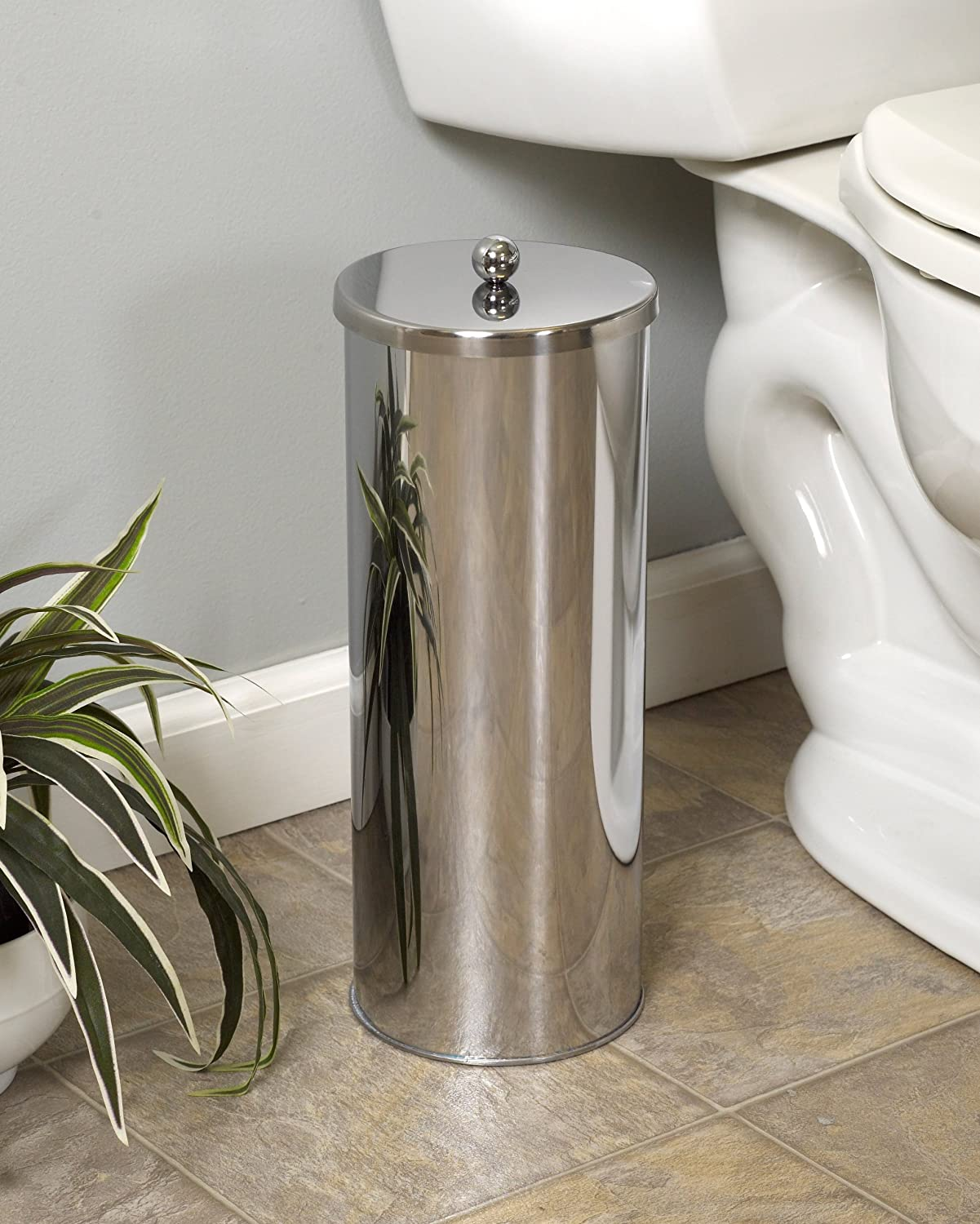 Enclosed Toilet Paper Holder Zenna Home 7666st Toilet Paper Canister Chrome New
