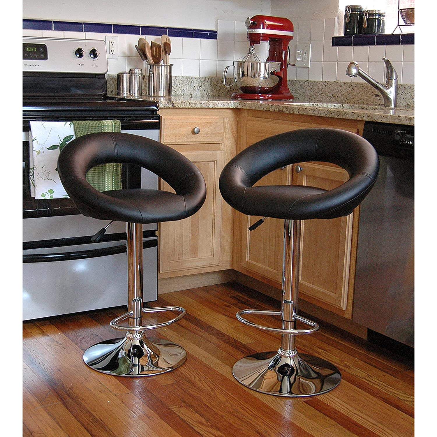 Kitchen Swivel Bar Stools Bar Stool Set 2 Piece Adjustable Height Seat Chair Swivel