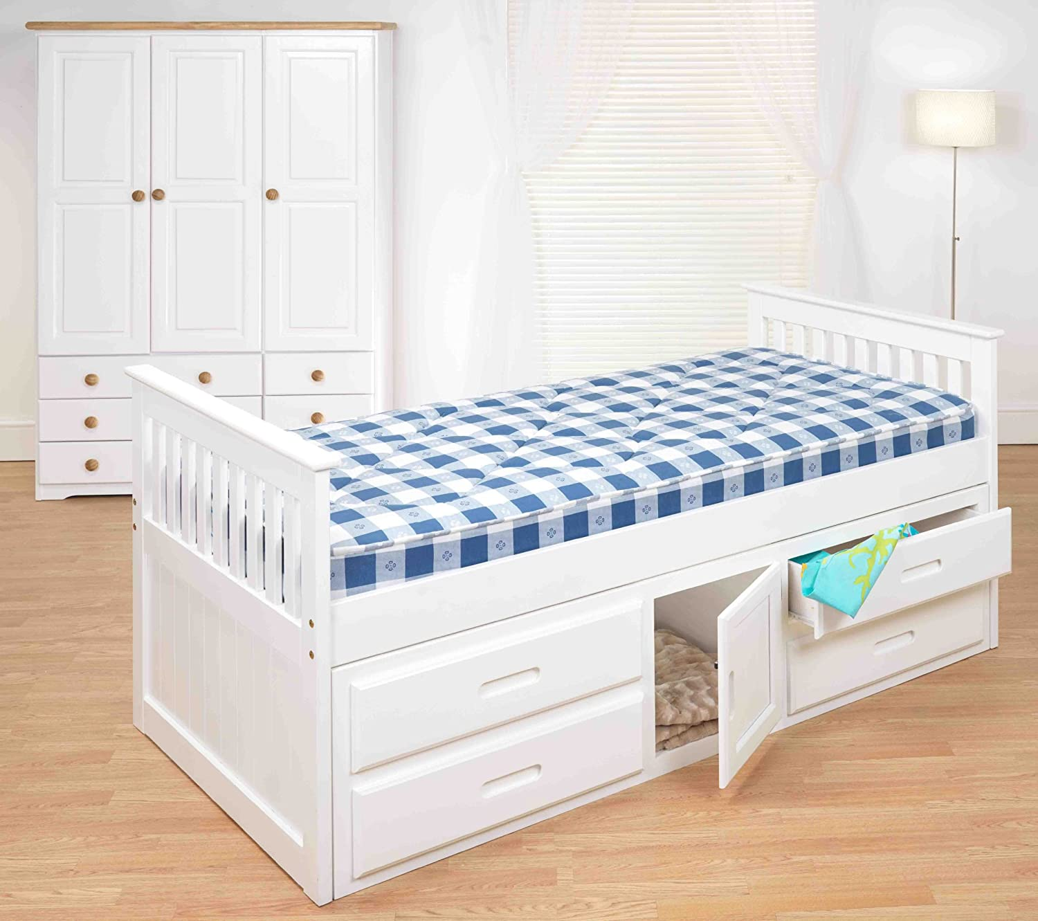 Single Bed With Storage Drawers Kids Beds 3ft Pine Captains Bed With Underbed And 2 X