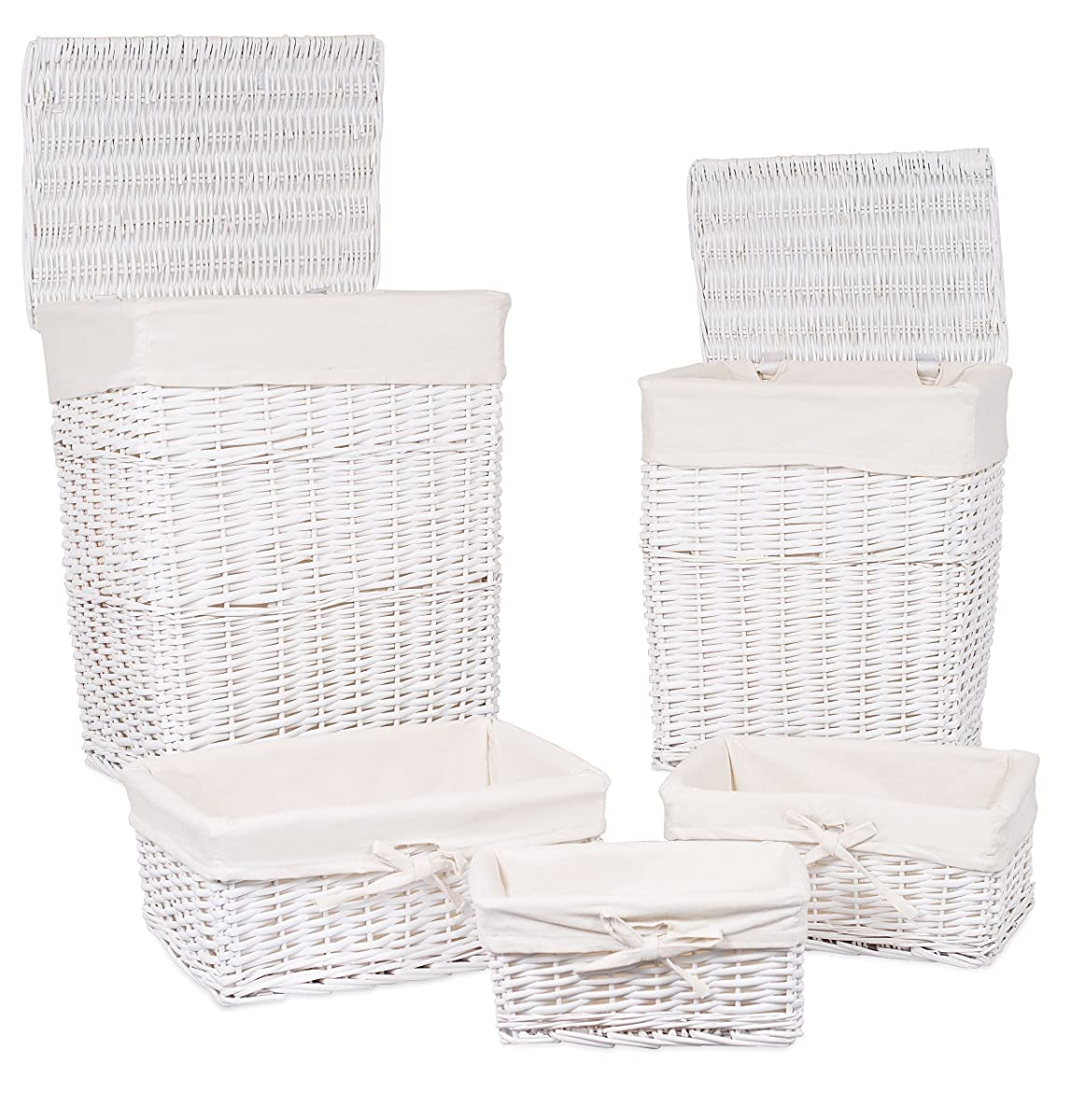White Hamper With Liner Birdrock Home Woven Willow Baskets With Liner Set Of 5
