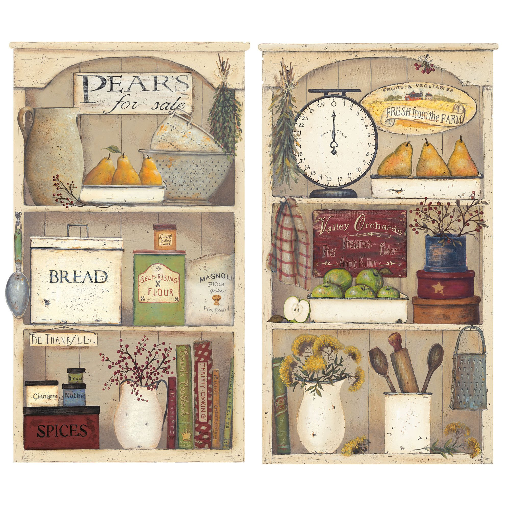 Country Kitchen Shelves Roommates Rmk2149gm Country Kitchen Shelves Peel And Stick Giant Wall Decals Furniturendecor