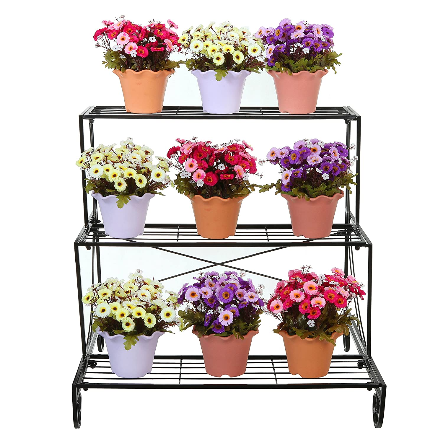 Three Tier Flower Pots 3 Tier Decorative Black Metal Plant Stand Planter Holder