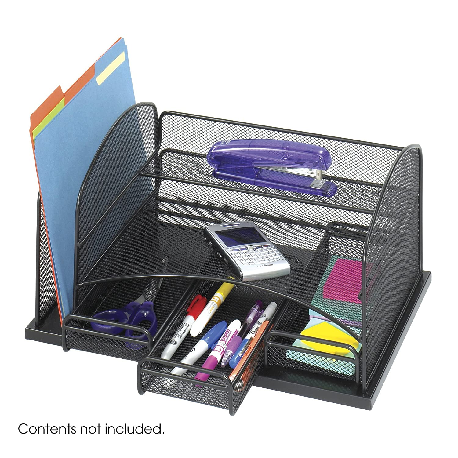 Desk Organiser Stationery Safco Products Onyx Mesh Desk Organizer With 3 Drawers