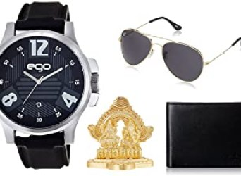 Maxima Ego Analog Black Dial Men's Watch with Sunglasses, Wallet, Laxmi Ganesh Idol and a Greeting Card