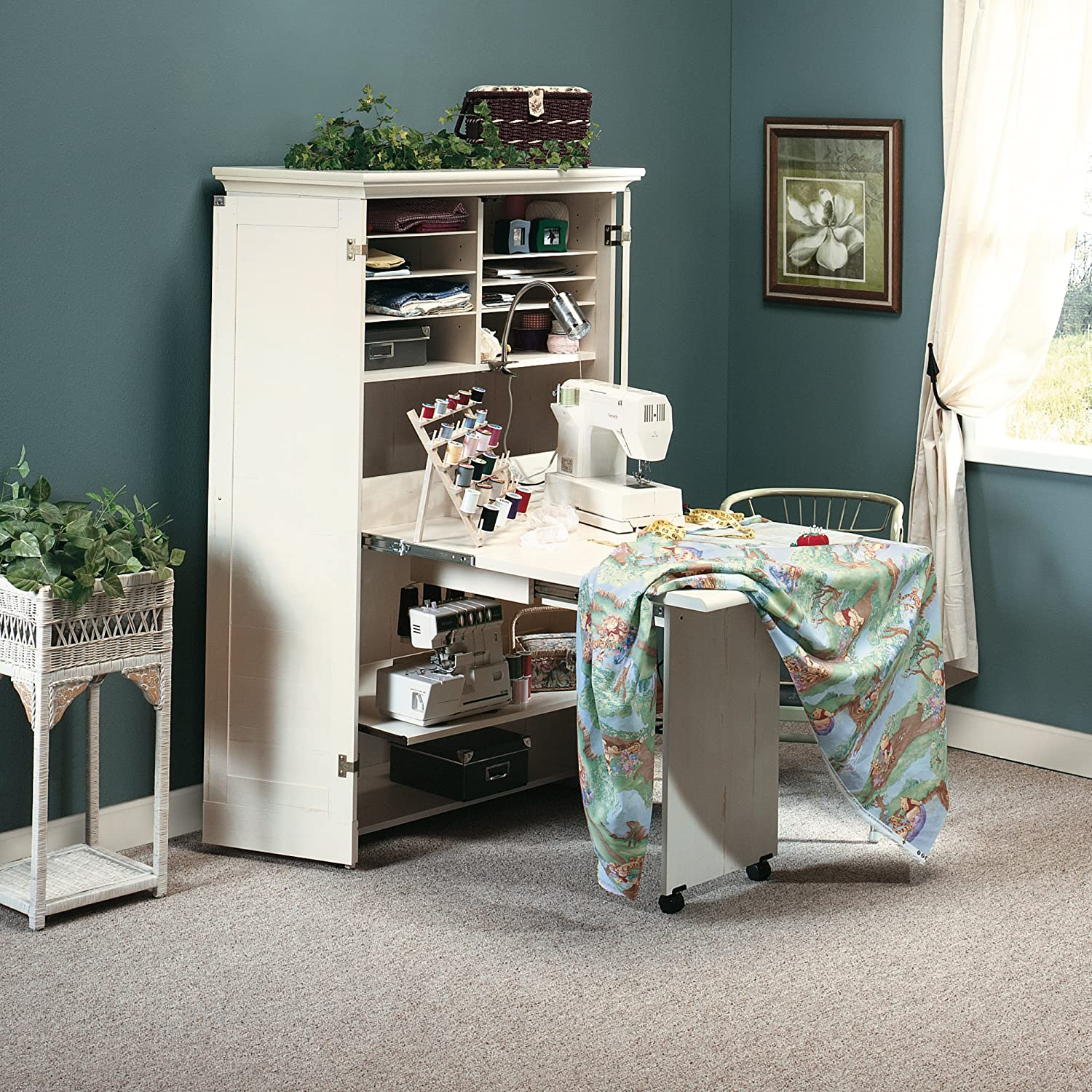 Center Tables With Storage Sewing Machine Table Cabinet Craft Armoire Dresser Storage