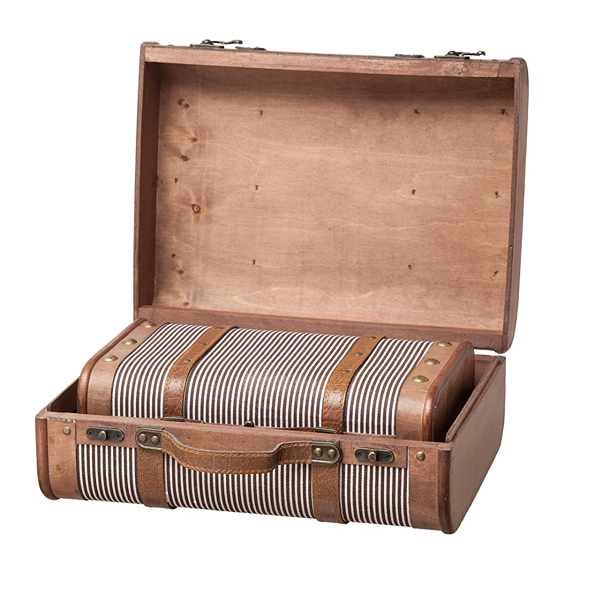 Vintage Decorative Suitcases Slpr Decorative Suitcase With Straps Set Of 2 Striped