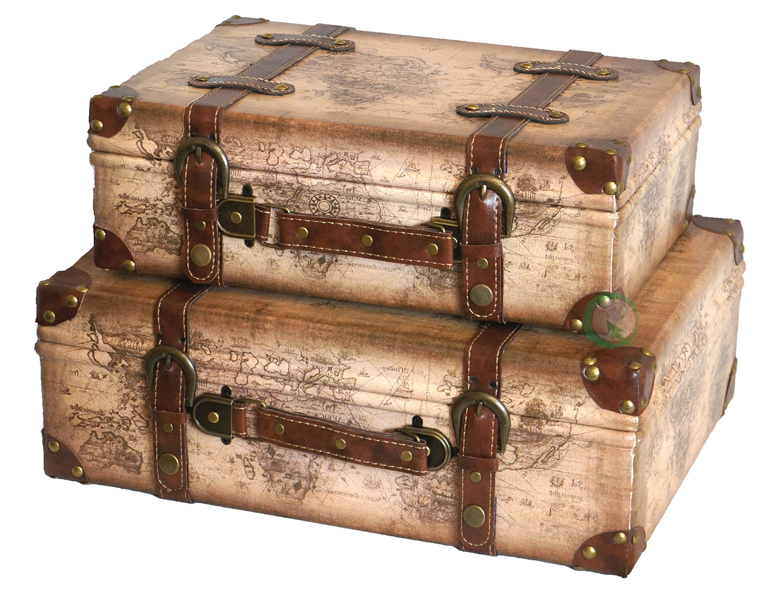 Vintage Decorative Suitcases Vintiquewise Tm Old World Map Leather Vintage Style