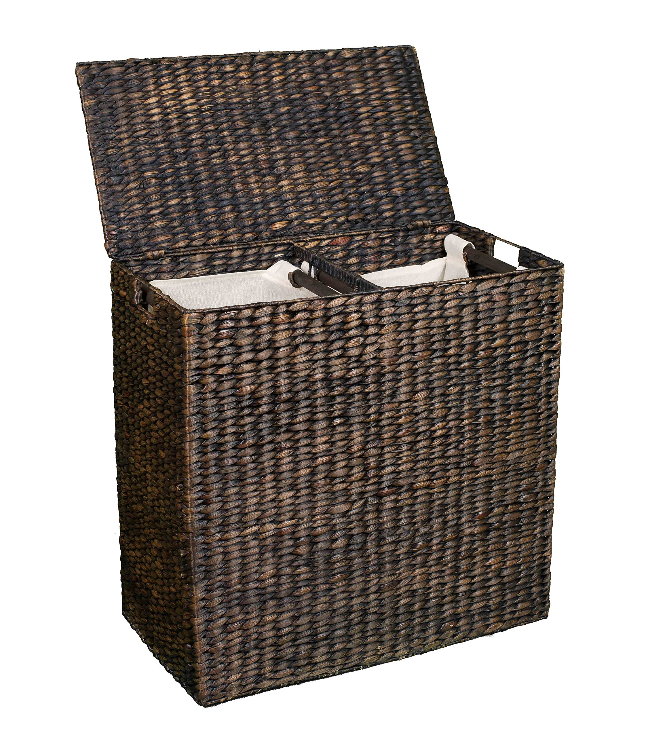 Designer Clothes Hampers Birdrock Home Water Hyacinth Laundry Hamper With Divided