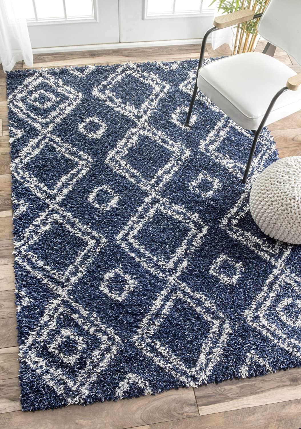 Blue Shag Rug Trellis Area Rug Blue Shag Navy 5x8 Lattice Carpet