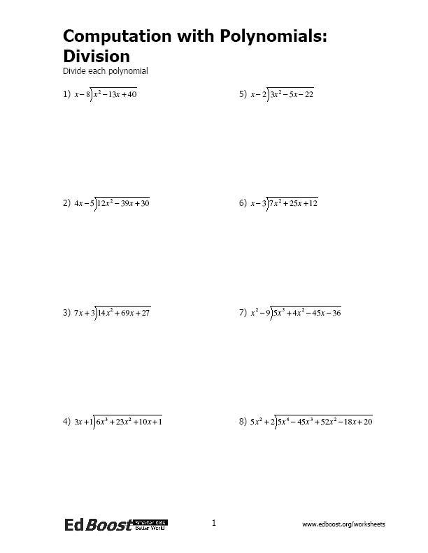 Algebra EdBoost - algebraic subtraction worksheets