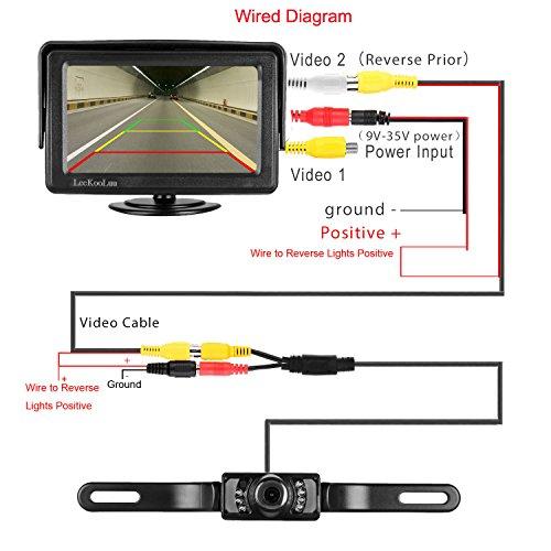 LeeKooLuu Backup Camera and Monitor Kit for Car/RV/Truck/Pickup/Van/Camper  Waterproof Night Vision Rear View Camera Single Power Reverse/Continuous