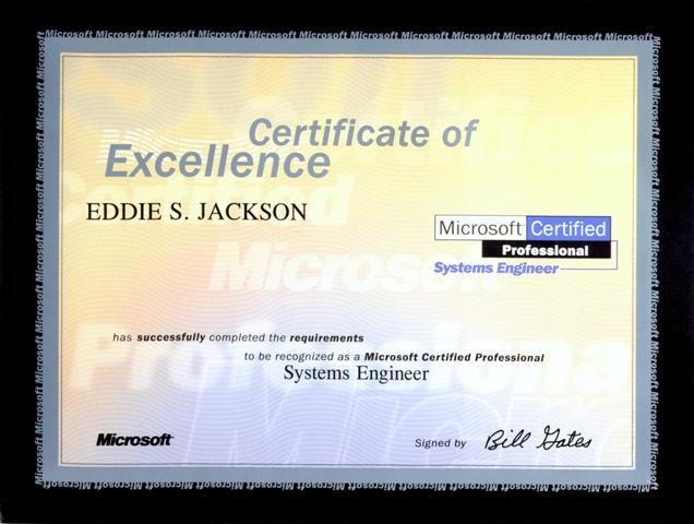 Certifications » Eddie Jackson - Professional Profile - microsoft certificate of excellence
