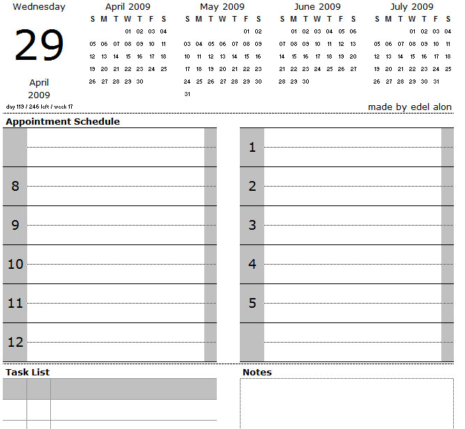 Excel Daily Calendar with Tasks and Notes - Edel Alon - daily calendar