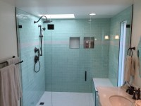 Side-by-Side Vanities & Glass Tile Bathroom Remodel - Los ...