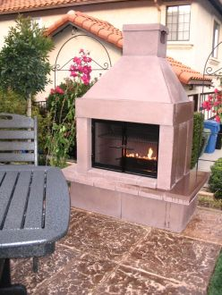 Diy modular outdoor fireplace by mirage stone eden for Pre fab outdoor fireplace