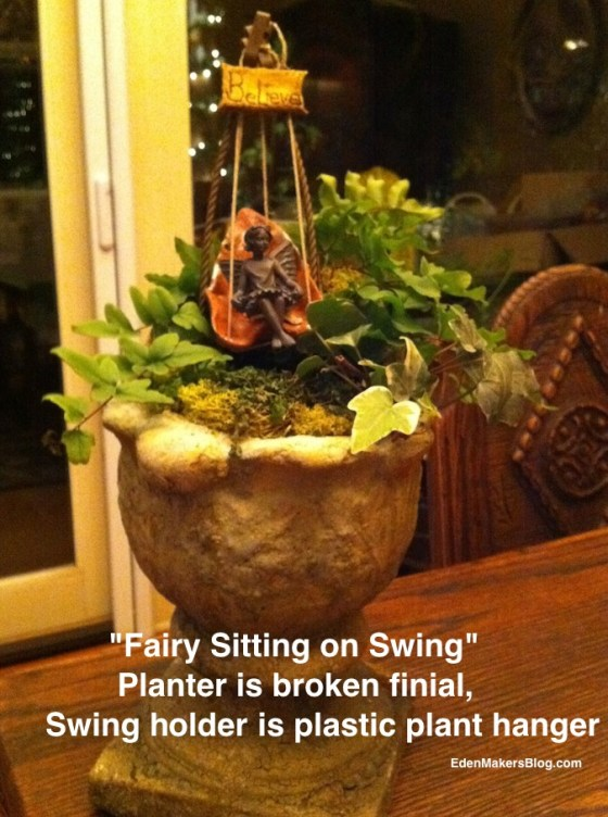 Broken-finial-upcycled as miniature-garden-planter-for fairy sitting on a -swing