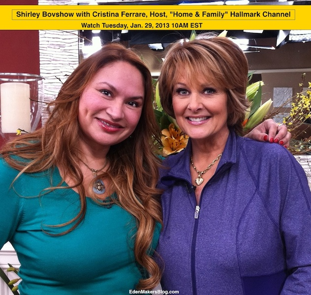 Shirley Bovshow guest appearance on Home and Family Show with Host, Christina Ferrare. Presenting on String Gardens, Jan 29, 2013