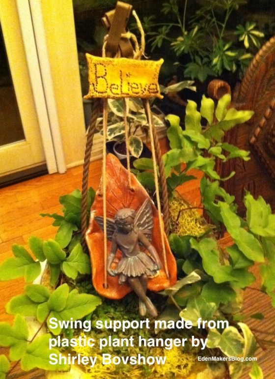 fairy-sitting-on-swing- in a miniature-garden-by Shirley Bovshow-edenmakersblog
