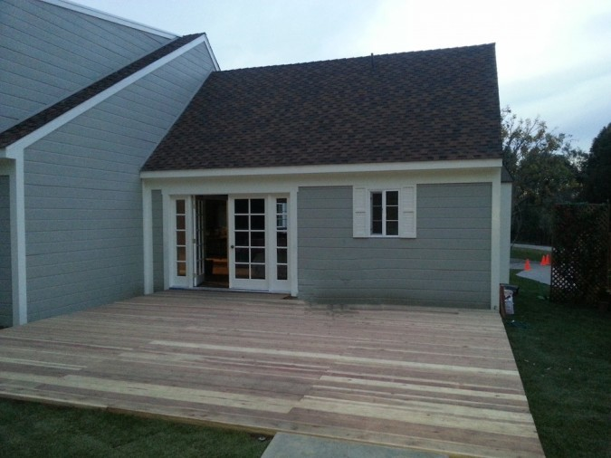 The deck of the Home & Family show was a blank canvas, no plants, no furniture, nothing to remove!