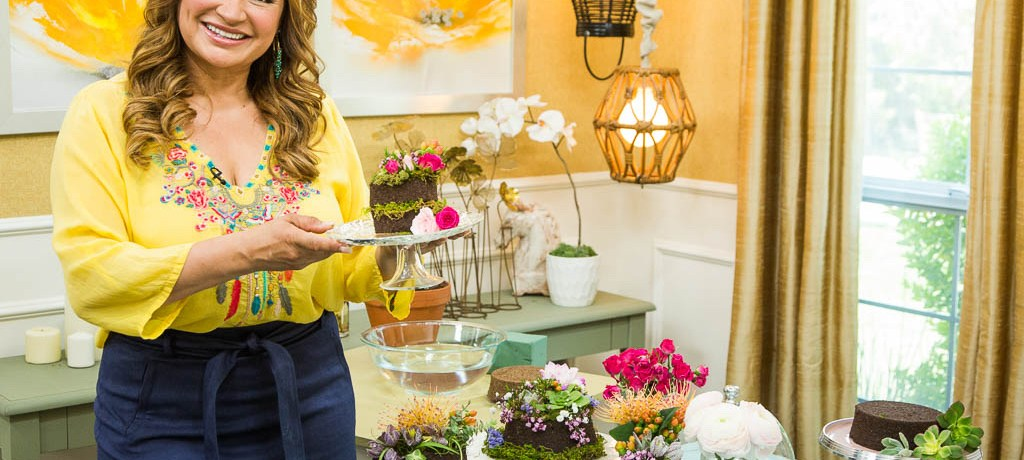 shirley bovshow with her living botanical cake arrangements made with eco-friendly Floral Soil, a green alternative to floral foam and beyond.