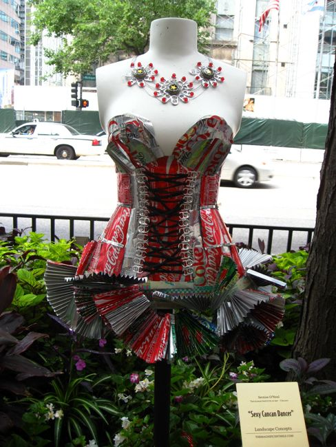 Coke Dress and coca cola necklace chicago street side garden