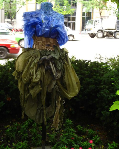 repurposed-shower-curtain-dress-chicago-street-garden