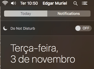 Ativando o Do not Disturn no Notification Center