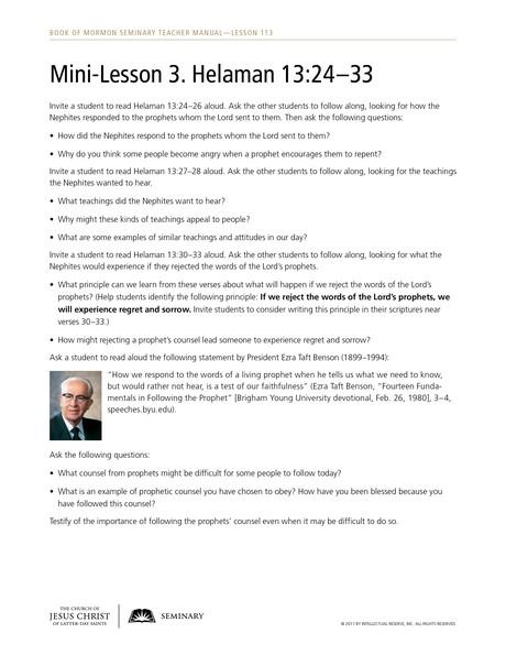 Lesson 113 Helaman 13