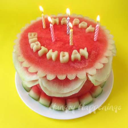 Carved Watermelon Birthday Cake – Edible Crafts