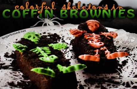 Colorful Skeleton Coffin Brownies