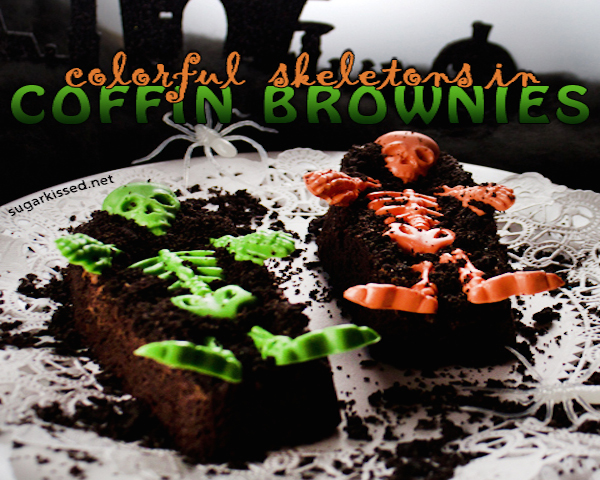 Colorful Skeleton Coffin Brownies