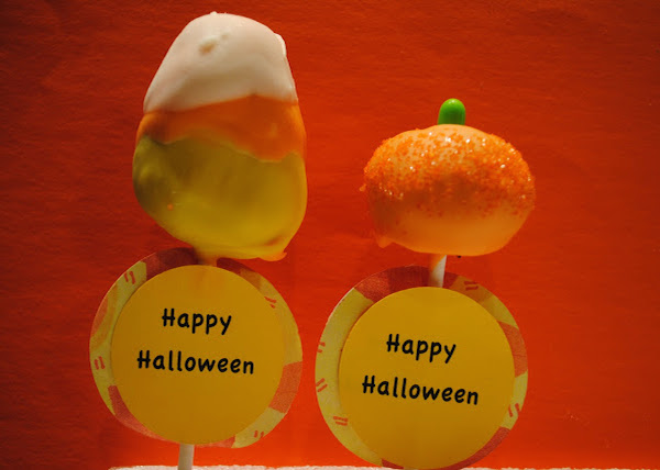 Pumpkin and Candy Corn Cake Pops