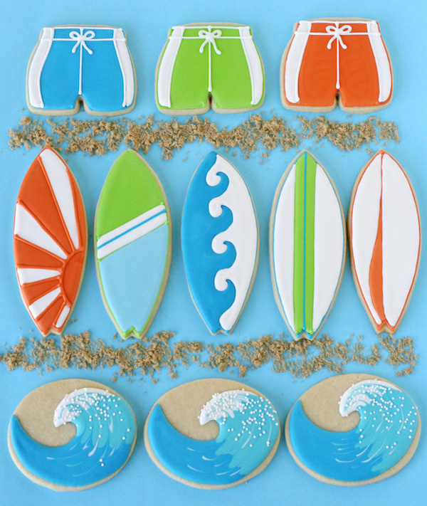 Surf boards and waves cookies edible crafts for Surfboard craft for kids