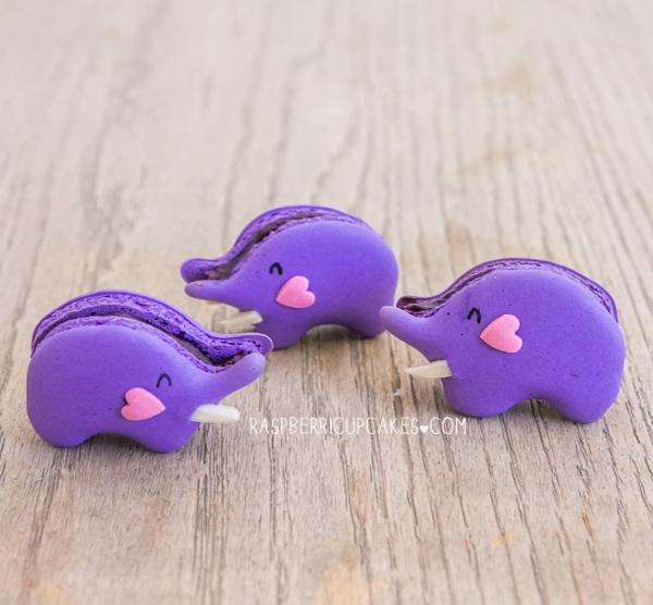 purple elephant macarons