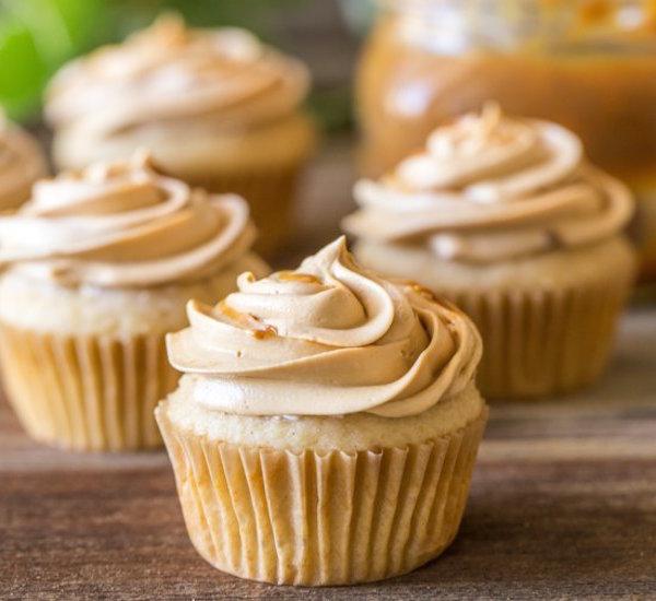 apple cupcakes with dulce de leche buttercream