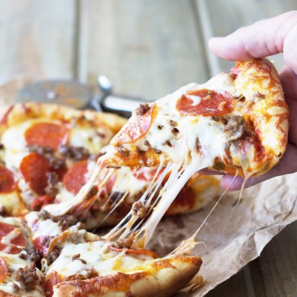 deep dish three meat pizza