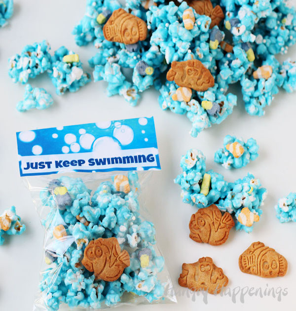 Finding dory treats just keep swimming popcorn edible for Finding dory crafts for preschoolers